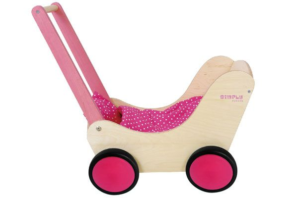Houten poppenwagen van Simply for Kids.